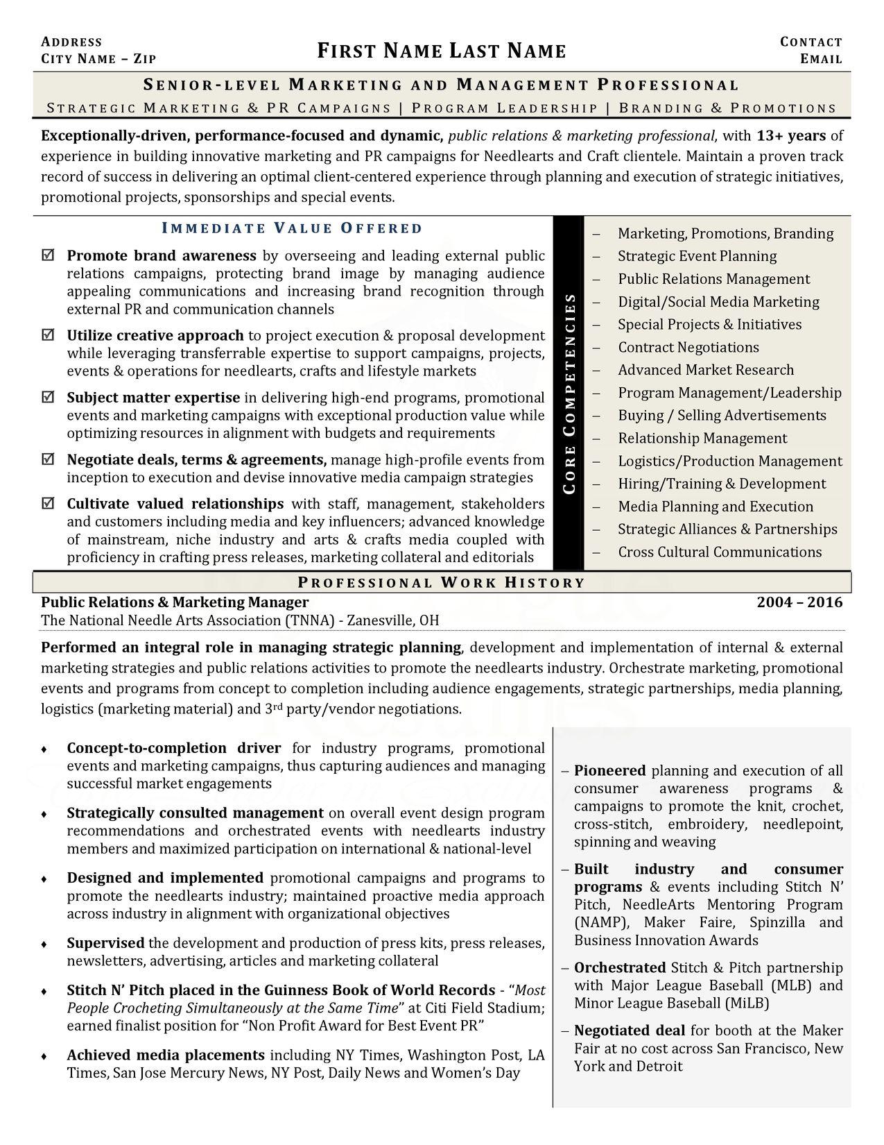 Marketing Management Sample Resume